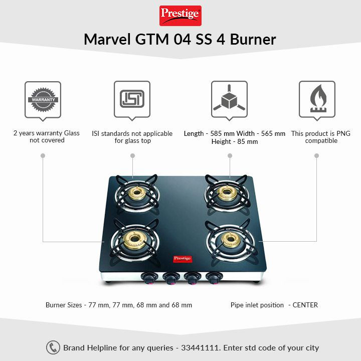 Prestige Marvel GTM 04 SS 4 Burner Glass Top Gas Stove By Snapdeal @ Rs.4,783