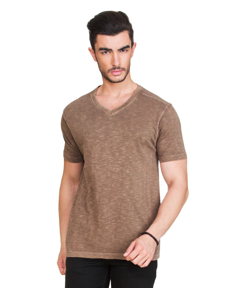 Zovi Brown V-Neck T Shirts