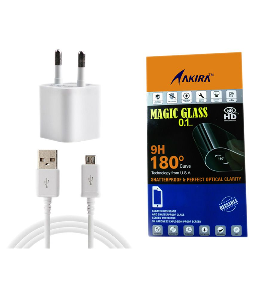 Micromax A104 Canvas Fire 2 Screen Guard with White Wall Charger by AKIRA