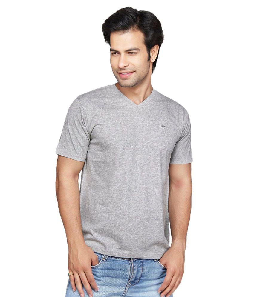 Clifton Fitness Men's V-Neck T-shirt -Grey Melange