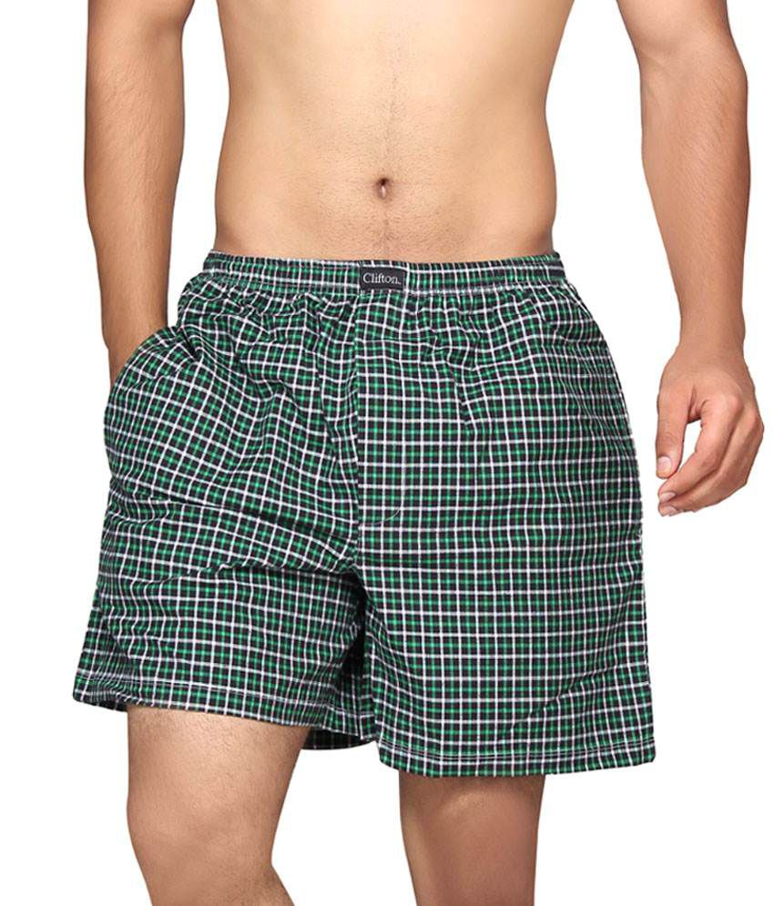 Clifton Fitness Men's Boxer -Black Green Checks