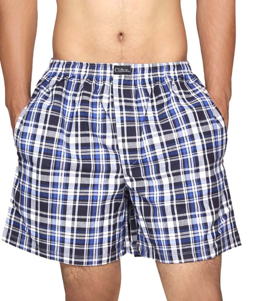 Clifton Fitness Men's Boxer -Navy Blue Checks