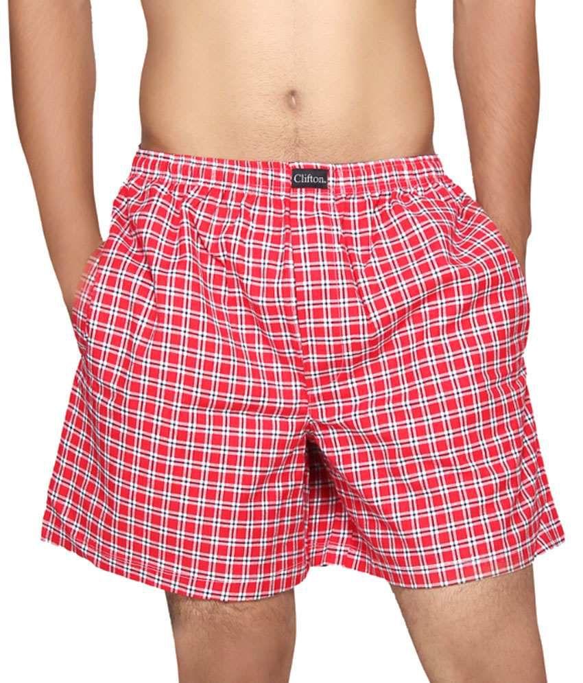 Clifton Fitness Men's Boxer -Red White Checks