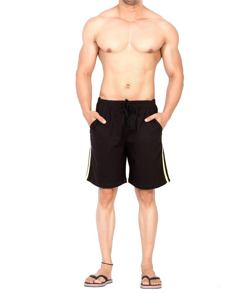 Clifton Fitness Men's Shorts Stripes -Black/Bright orange