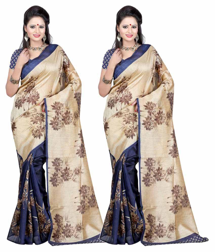 Prushti Beige and Navy Banglore Silk Pack of 2