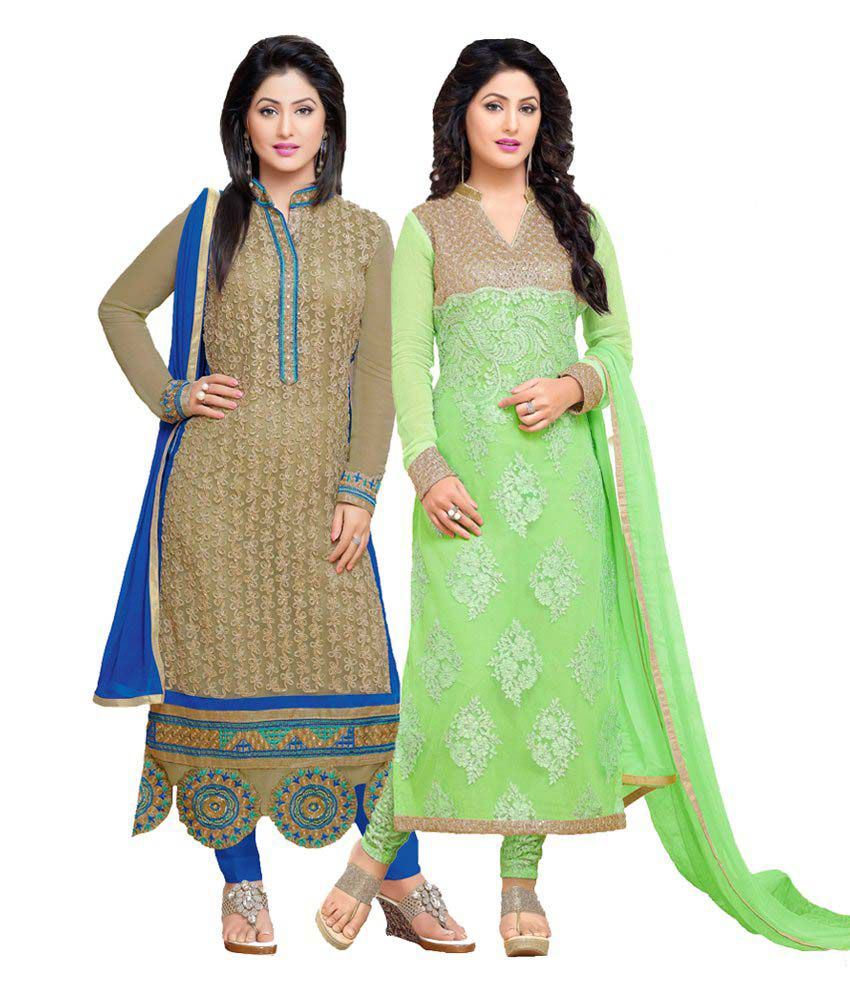 Sudev Green Georgette Straight Semi Stitched Dress Material Pack of 2