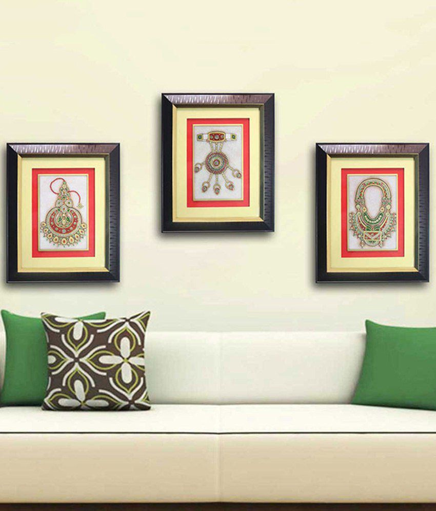 Veer Creations Brown Marble Painting Of 3 Glorious Legend Art Jewellery Set Of 3