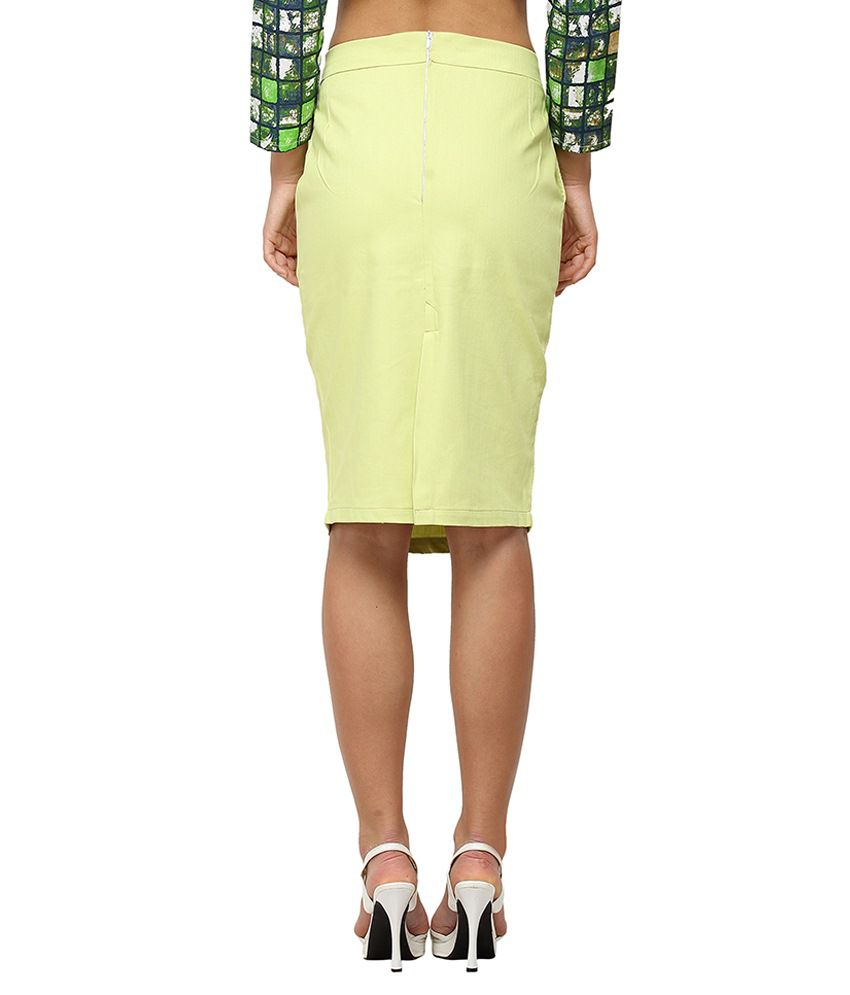 08f54010f9a1 Buy Vodka Fashion India Green Cotton Pencil Skirt Online at Best ...