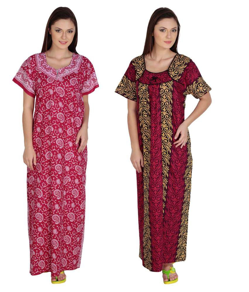 Aasma Multi Color Cotton Nighty Pack of 2