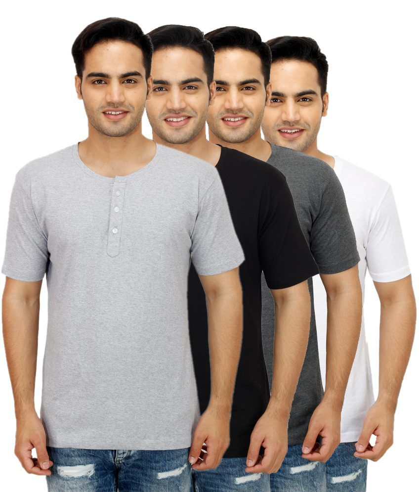 Christy's Collection Multi Henley T Shirts Pack of 4