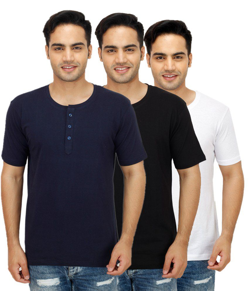 Christy's Collection Navy Henley T Shirts Pack of 3