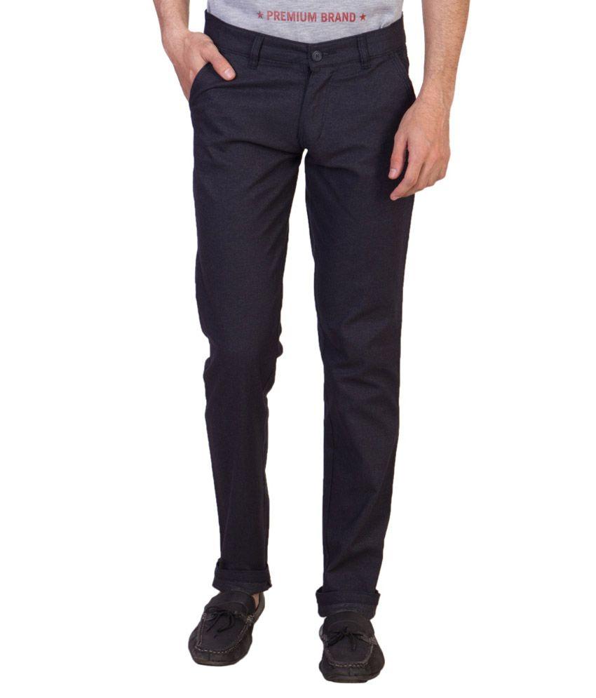 Maciej Navy Regular Fit Flat Trousers