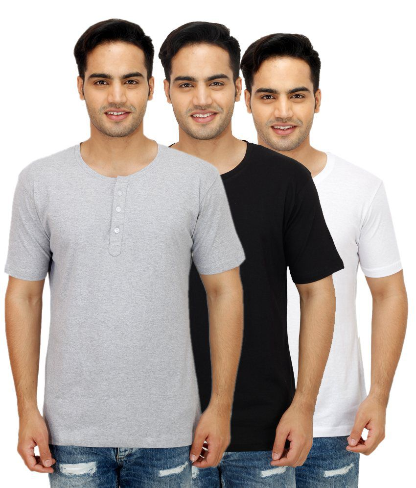 Rakshita's Collection Grey Henley T Shirts Pack of 3