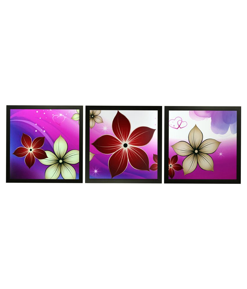 SAF Textured Wooden Floral Painting With Frame -Set of 3
