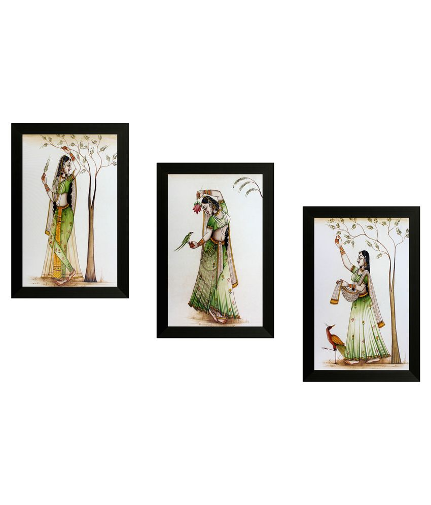SAF Textured Wooden Folk Art Painting With Frame -Set of 3