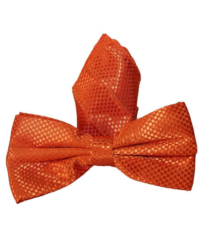 Uspa.Polo Orange Silk Combo Of Bowtie & Pocket Square