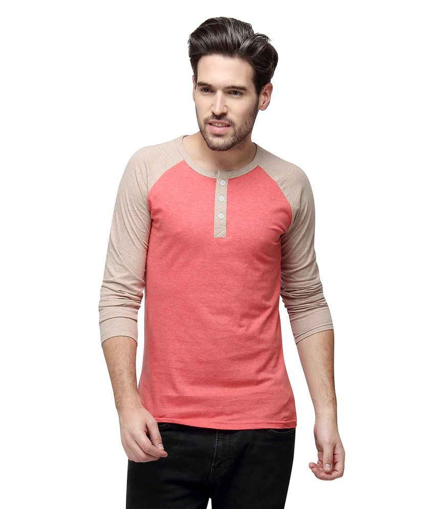 Campus Sutra Peach Henley T Shirts Single