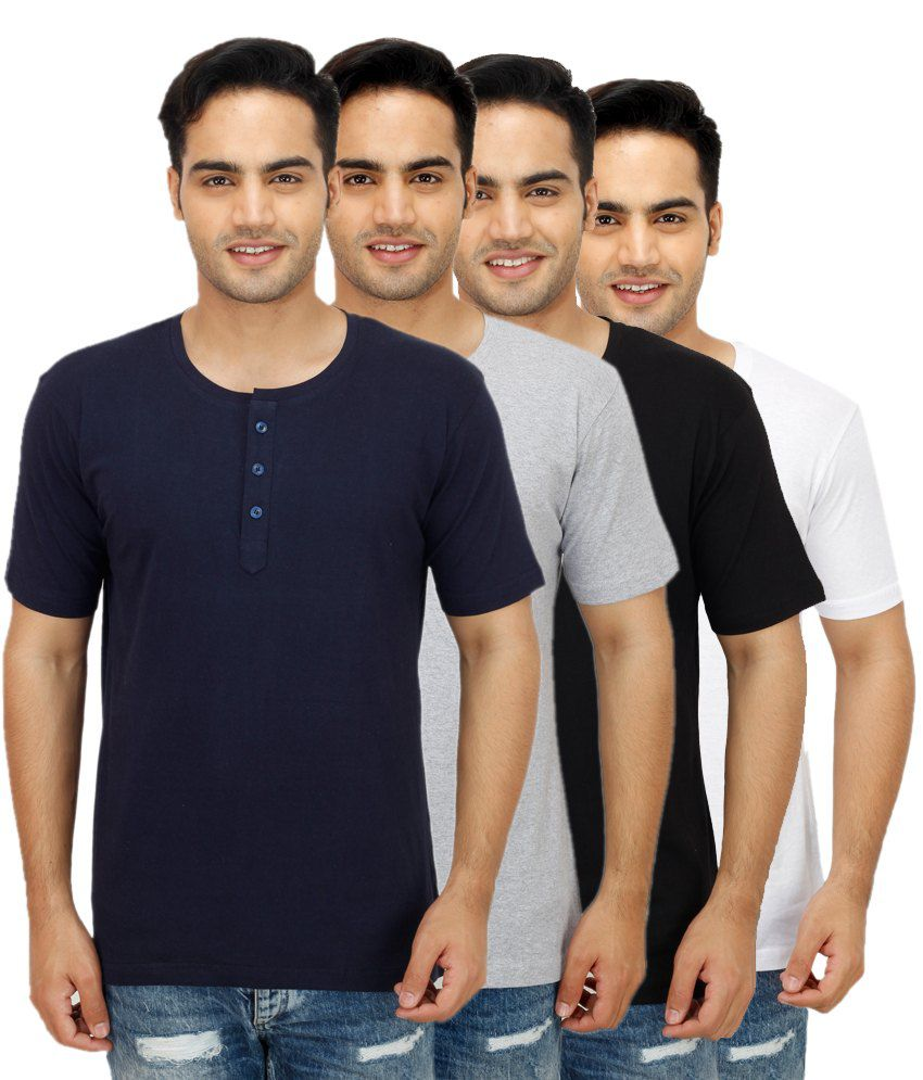 Christy World Multi Henley T Shirts Pack of 4