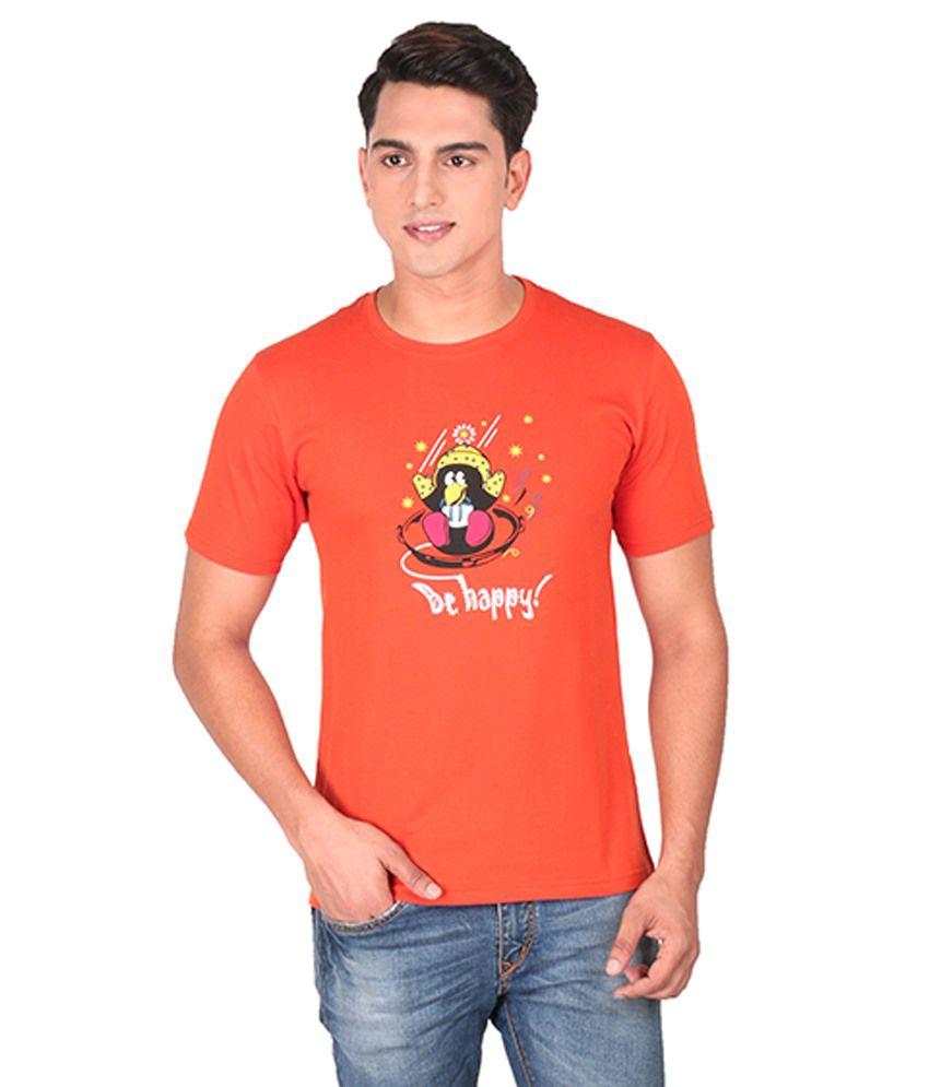 Tohfaa Orange Round T Shirts