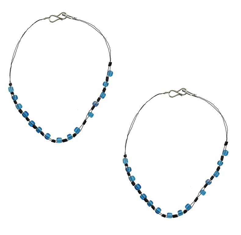 High Trendz Blue and Black Pair Of Anklets