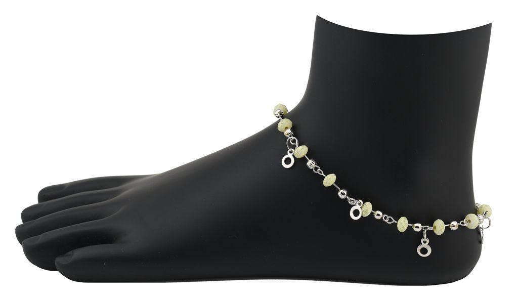 High Trendz Silver and Green Anklets