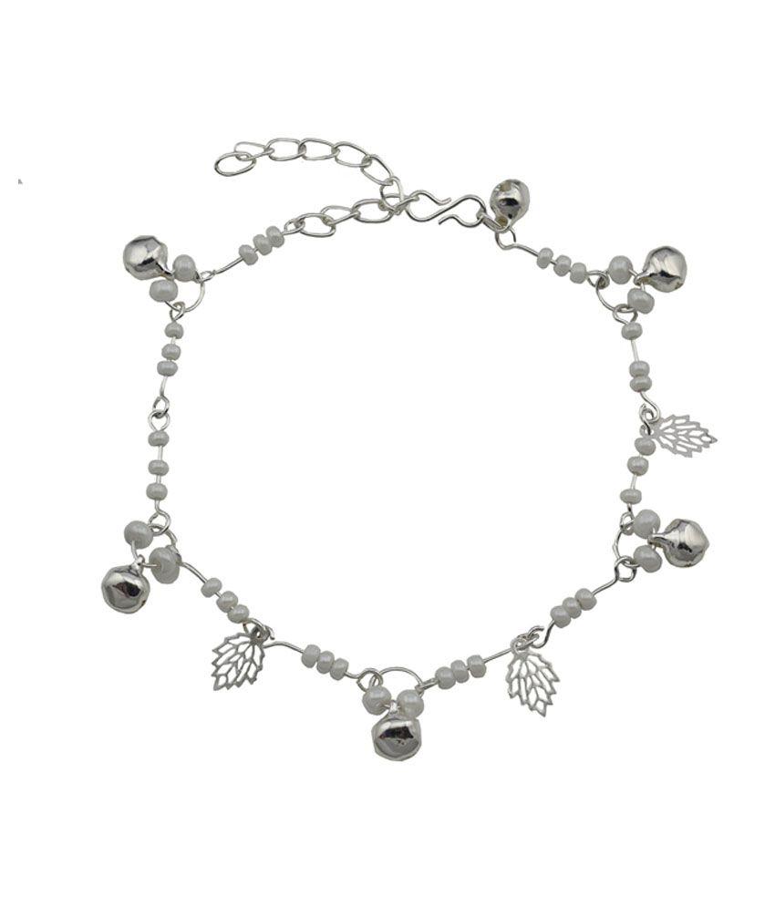 High Trendz White Beads With Silver Leaves Designer Copper Anklet