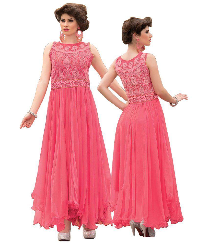 Panchi Self Design Partywear Pink Georgette Gown