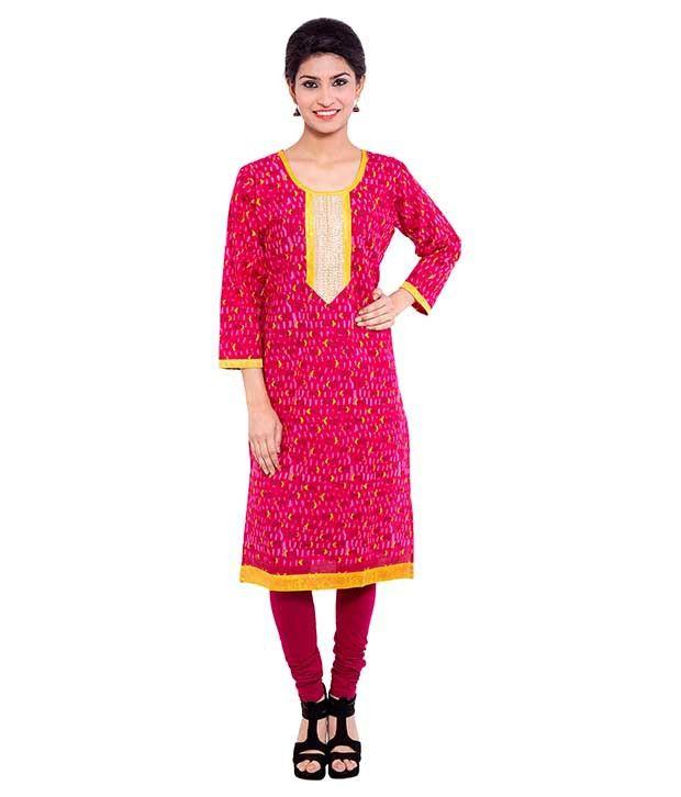 Agrima Fashion Pink Straight Cotton Kurti
