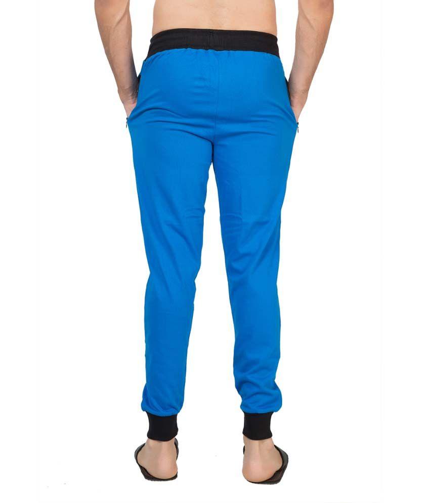 Clifton Fitness Men's Ribbed Slim Fit Track Pant -Royal Blue