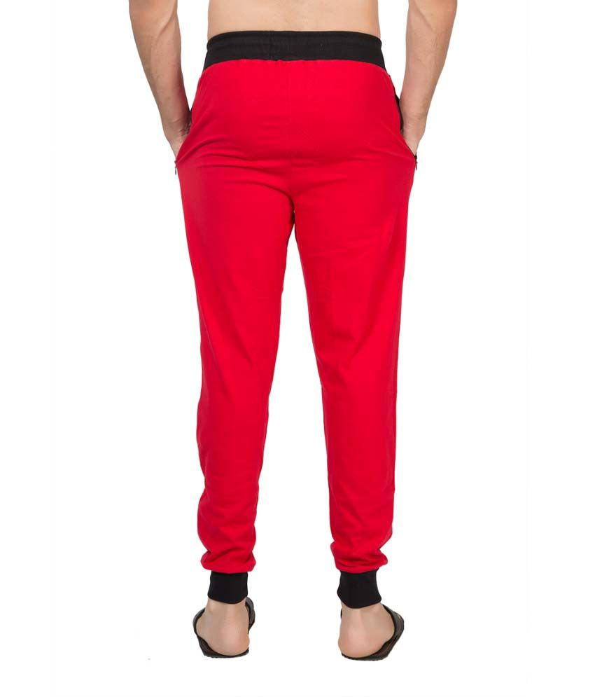 Clifton Fitness Men's Ribbed Slim Fit Track Pant -Red