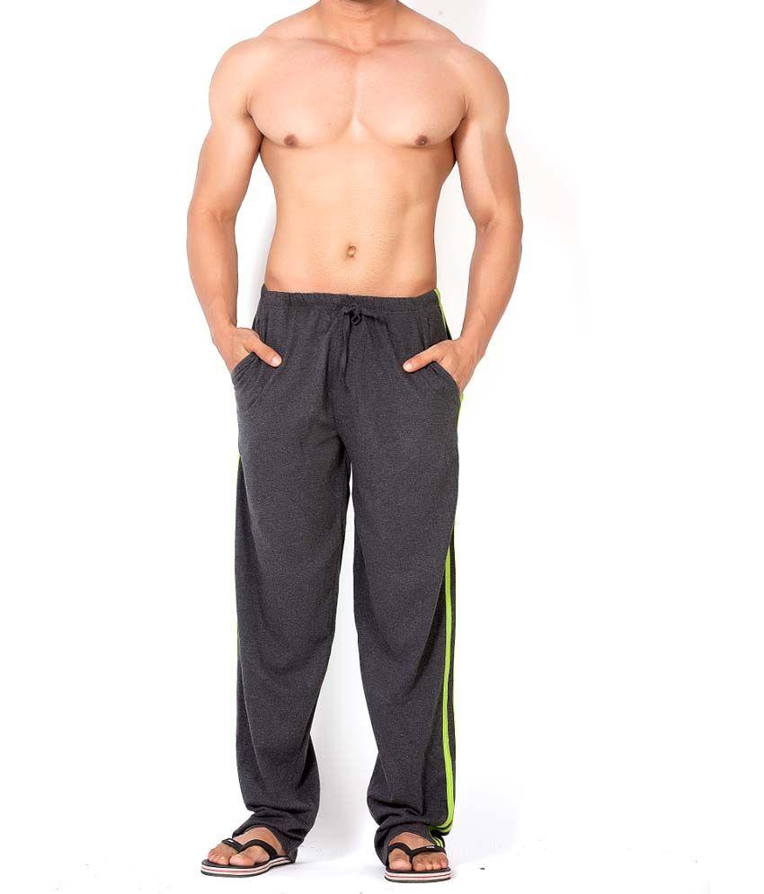Clifton Fitness Men's Track Pant Striper -Charcoal & Parrot Green