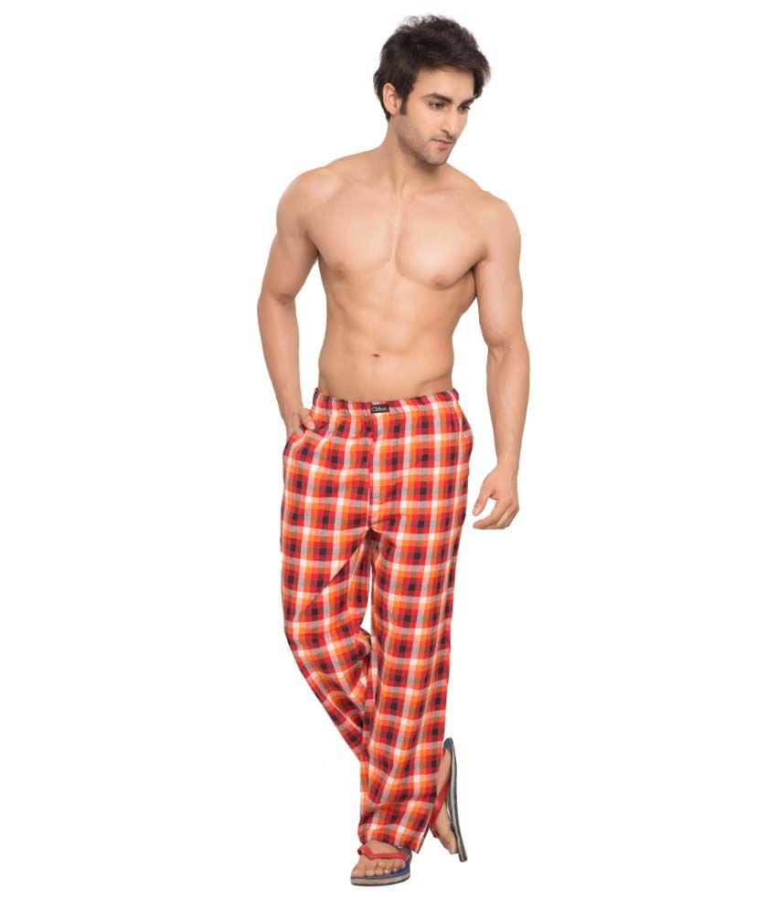 Clifton Men's Woven Pyjama -Orange & Red Checks