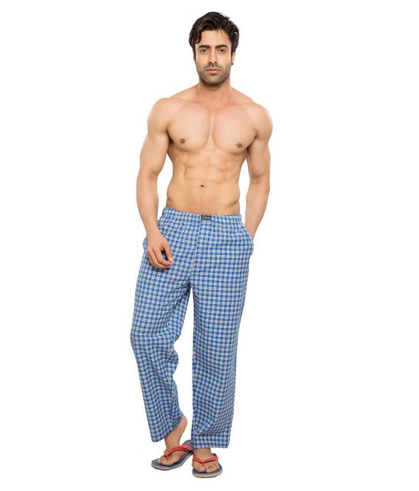 Clifton Men's Woven Pyjama -Blue & White Checks