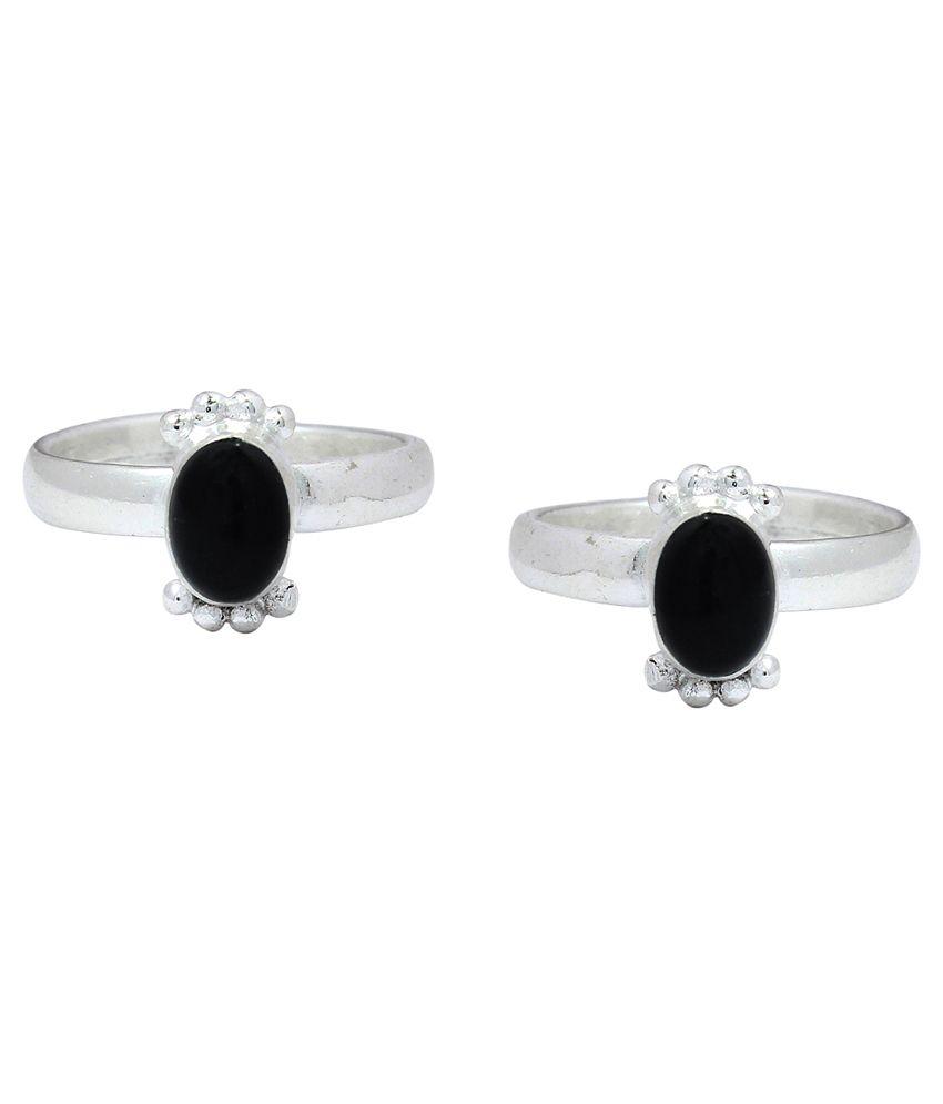 Ranvijay Black Designer Toe Rings