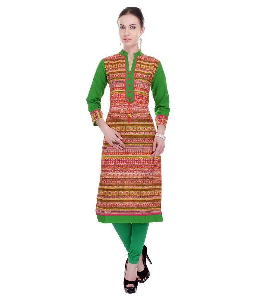 Sparsh Rajasthan Multi Color Straight Cotton Kurti