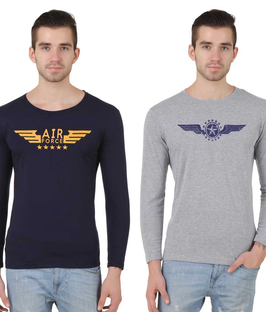 Konners Multi Colour Full Sleeve T shirt Combo Pack of 2