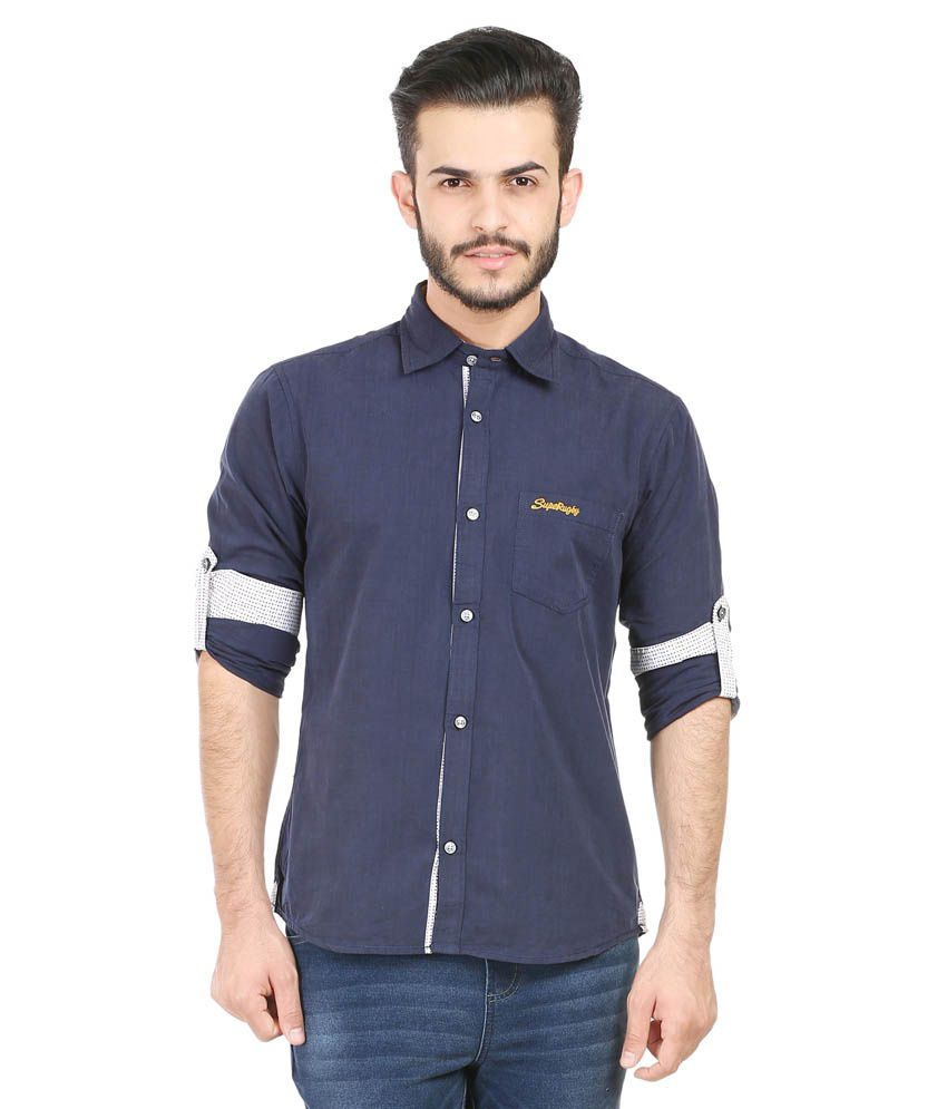 SupeRugby Navy Casuals Slim Fit Shirts