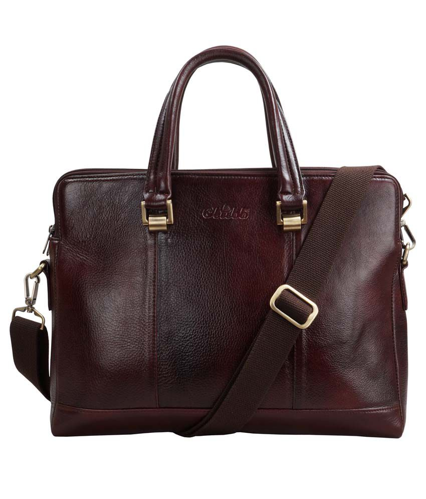 Clubb Sleek Laptop Tan Leather Office Messenger Bag