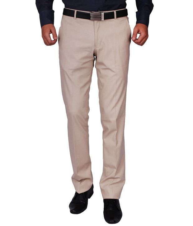 Dcode Beige Slim Fit Flat Trousers