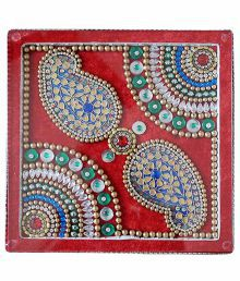 Ganesh Paper Mart Red Wooden Chowki With Multicolour LED Light Effect