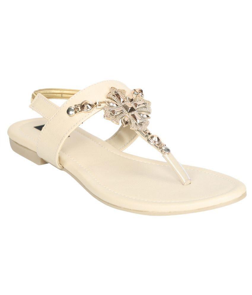 A Click Away Beige Flat Slip-on & Sandal