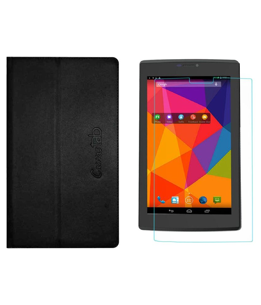 Colorcase Flip Cover with Tempered Glass for Micromax Canvas Tab P480 - Black