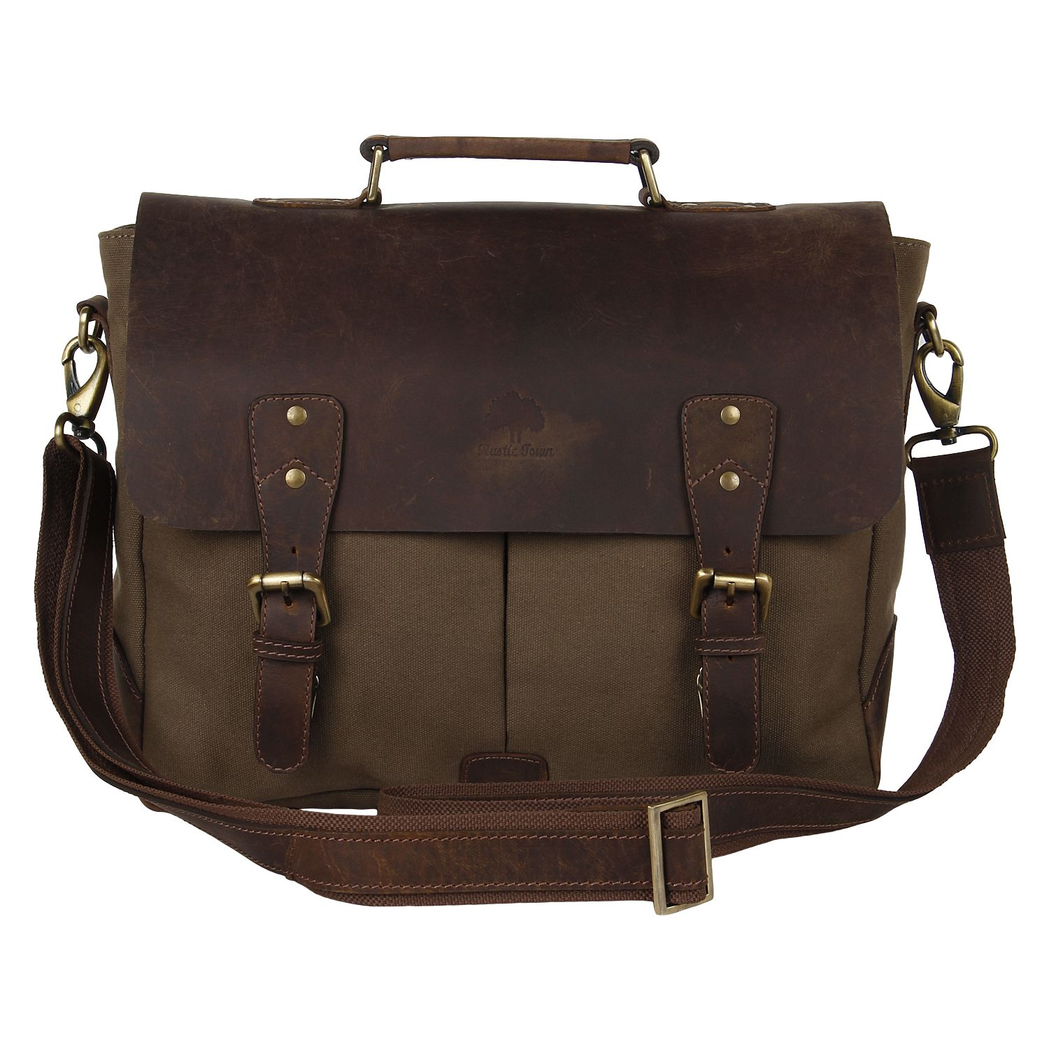 Rustic Town Brown Leather Laptop Bag
