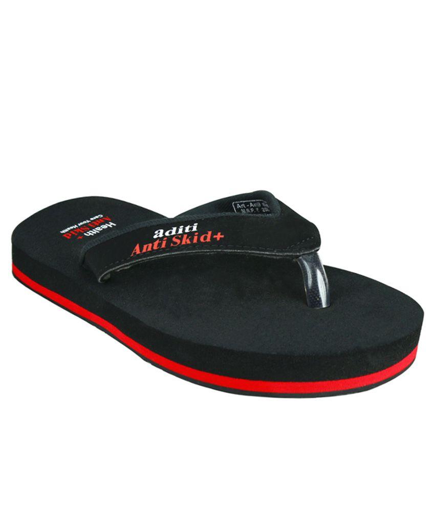Aditi Black Slippers & Flip Flops