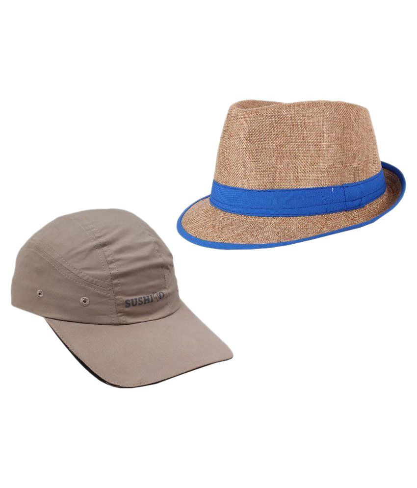 Sushito Multicolor Fidora Hat For Men - Set of 2