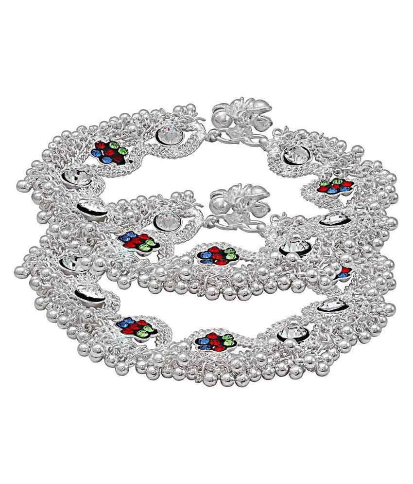 length pajeb plated anklet jhalar designer inch pattern jhumki pair memoir and product of anklets silver broad colourful