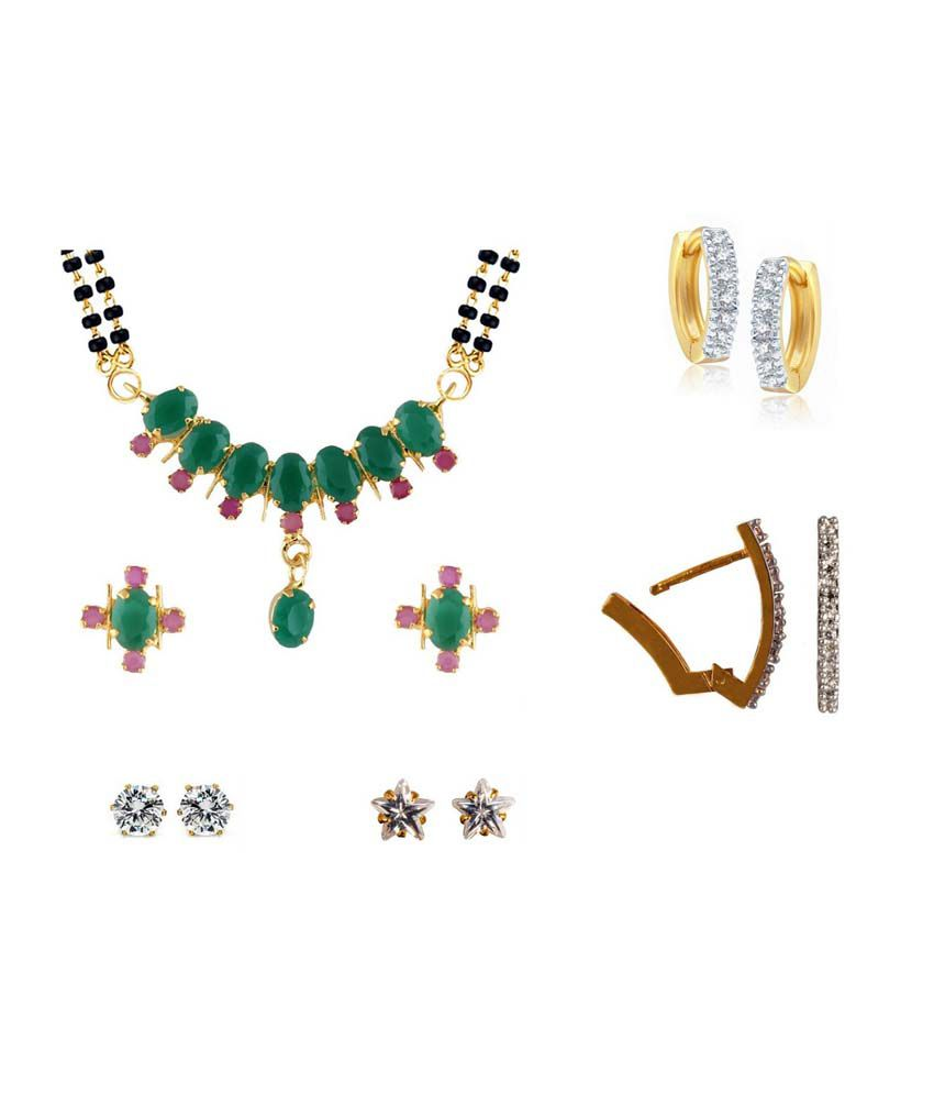 Archi Collection Super Saver Combo of Mangalsutra Set along with Pack of 4 Earrings