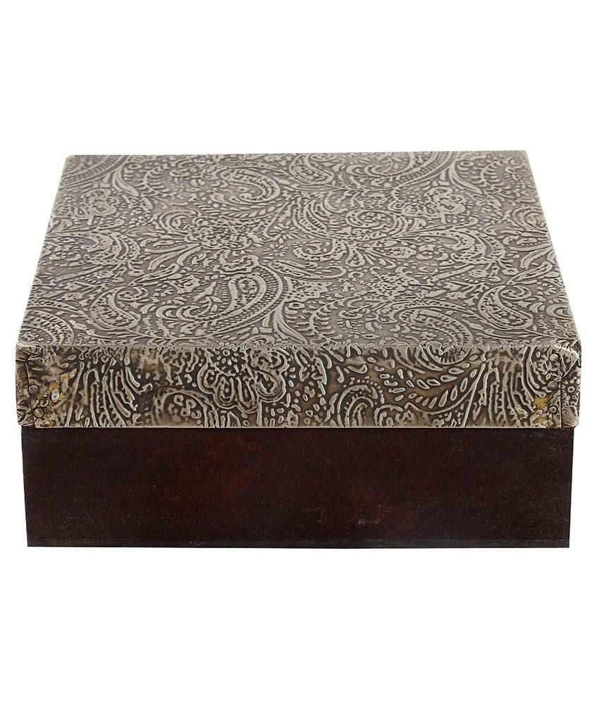 Rajrang Coffee Color Wood & Metal Paisley Pattern Jewellery Box