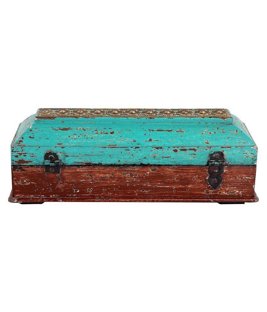 Rajrang Sea Green Wood & Metal Jewellery Box