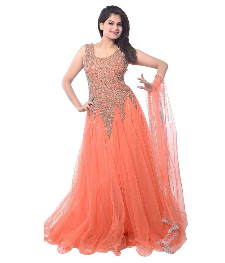 Shahlon Orange Net Gowns - Buy Shahlon Orange Net Gowns Online at ...